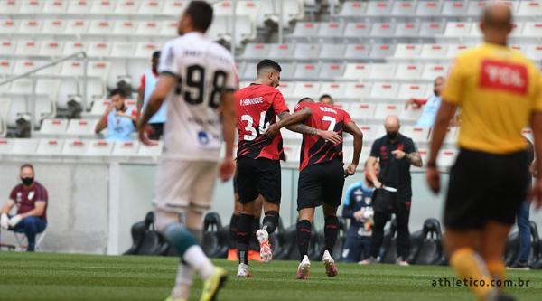 Furacão marcou no primeiro tempo na Arena da Baixada. Foto: Athletico/Divulgação