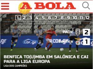 Ex-flamenguista fracassa e o Benfica é eliminado na Pré-Champions League