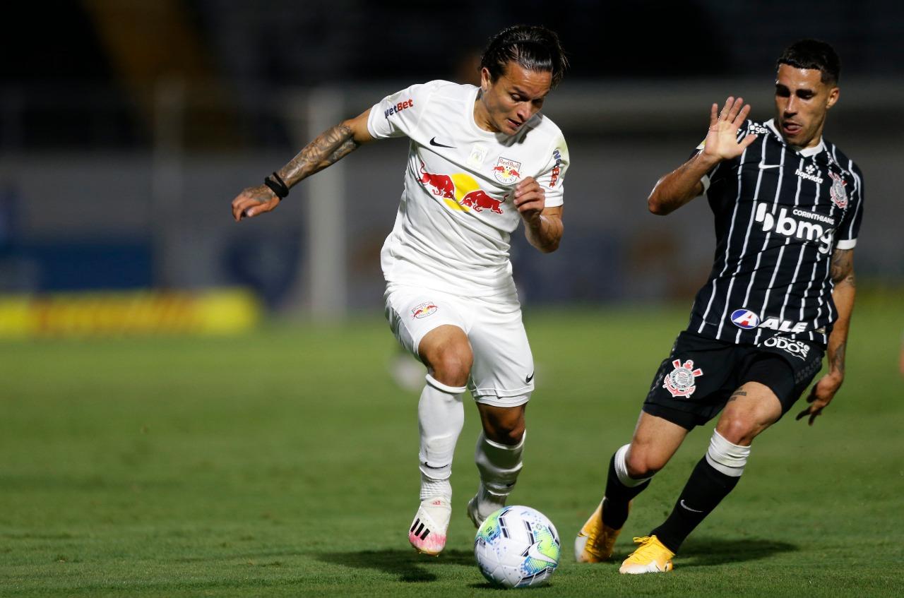 Em jogo de poucas chances, Timão e Bragabull não saíram do zero no placar. Foto: Twitter/Red Bull Bragantino