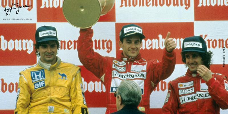 Brasileiro ganhou com a equipe inglesa no GP de San Marino de 88. Foto: Divulgação