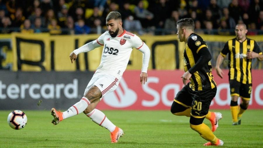 Gabigol, durante partida entre Flamengo e Peñarol