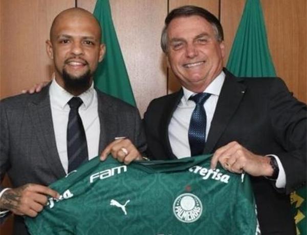 Felipe Melo em encontro com o presidente Jair Bolsonaro. Foto: Reprodução/Twitter