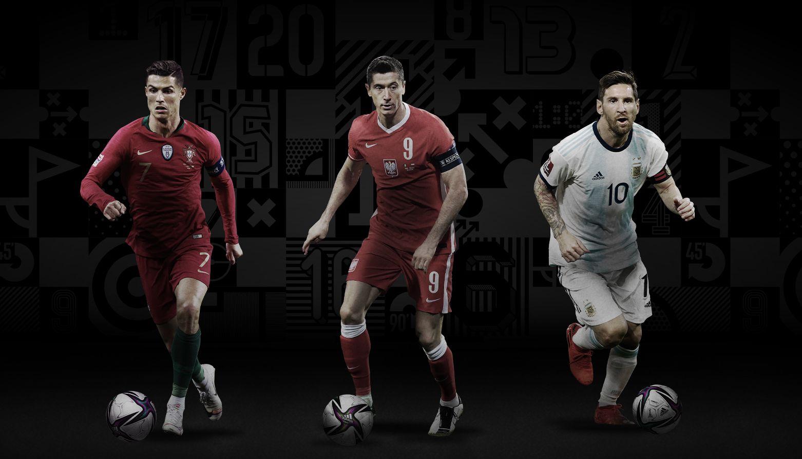Messi, Cristiano Ronaldo e Lewandowski são os finalistas do prêmio The Best. Foto: Divulgação