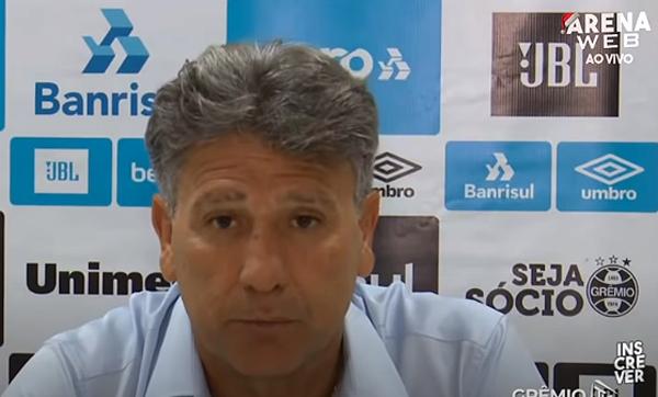 O treinador do Grêmio, após jogo contra o São Paulo. Foto: Reprodução/YouTube