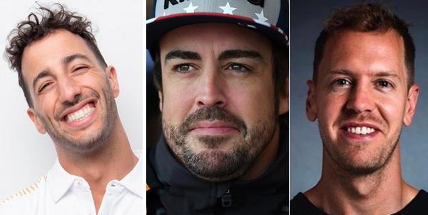 Ricciardo, Alonso e Vettel estão motivados. Fotos: Divulgação