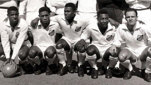 Dorval, Mengálvio, Coutinho, Pelé e Pepe, a linha ofensiva do Peixe. Foto: Divulgação
