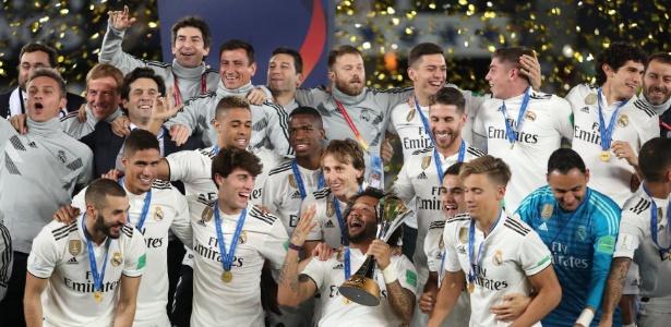 Real Madrid comemora título do Mundial de Clubes em 2018. Foto: Suhaib Salem/Reuters/Via UOL