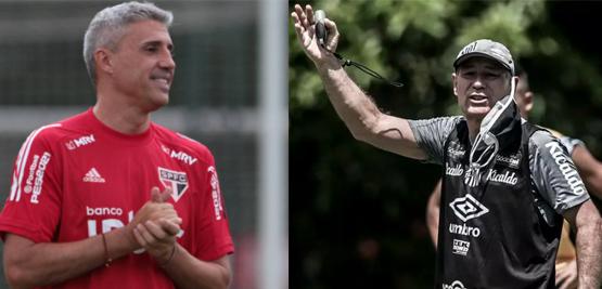 Crespo e Holan se encontrarão no Morumbi. Fotos: Rubens Chiri/SPFC e Ivan Storti/SFC