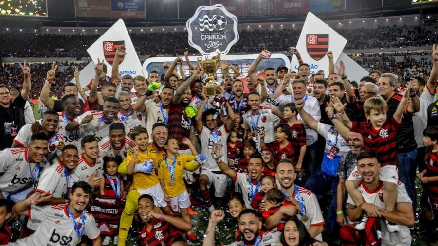 Jogadores do Flamengo comemoram o título do Campeonato Carioca de 2019. Foto: Alexandre Vidal/Flamengo