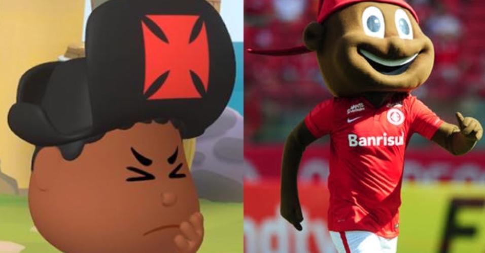 Almirantinho e Saci-Pererê: os mascotes negros de Vasco e Internacional. Foto: Youtube/Site oficial do Inter