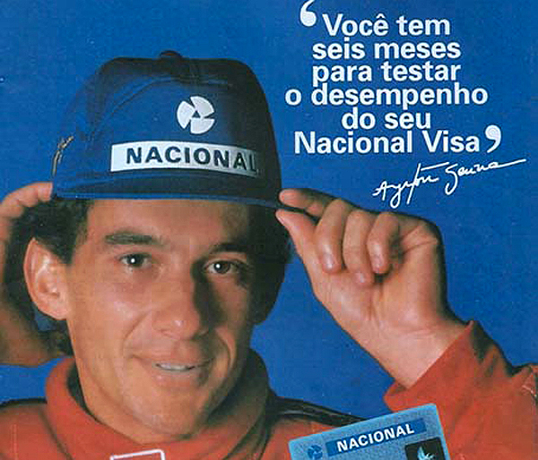 O extinto Banco Nacional foi uma das marcas mais presentes na carreira do piloto. Foto: Divulgação