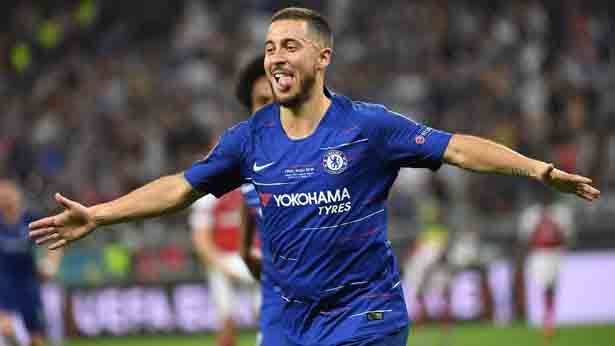 Eden Hazard foi, finalmente, confirmado pelo clube espanhol. Foto: Kirill KUDRYAVTSEV/AFP/Via UOL