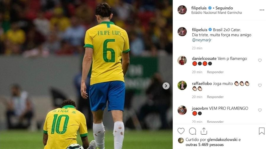 Filipe Luis deseja força a Neymar para enfrentar lesão