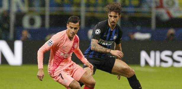 Coutinho atuou durante os 90 min diante da Inter de Milão. Foto: AP Photo/Antonio Calanni