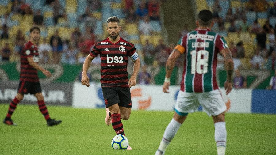 Diego deixou o clássico com o Fluminense durante o intervalo. Foto: Alexandre Vidal/Flamengo