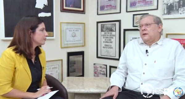 Graziela Guerra e Milton Neves durante entrevista na redação do Terceiro Tempo. Foto: Reprodução/Youtube