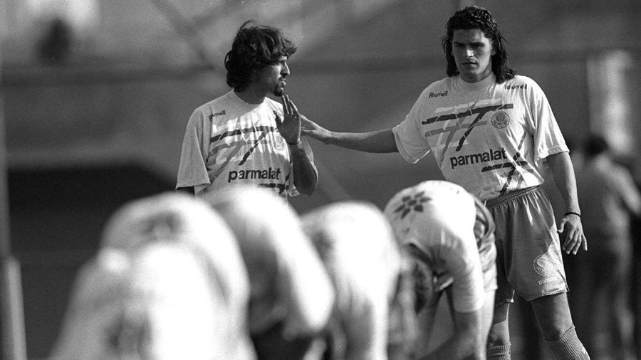 Italiano Marco Osio (à esquerda) com o argentino Alejandro Mancuso em treino na década de 90. Foto: Folha Imagem