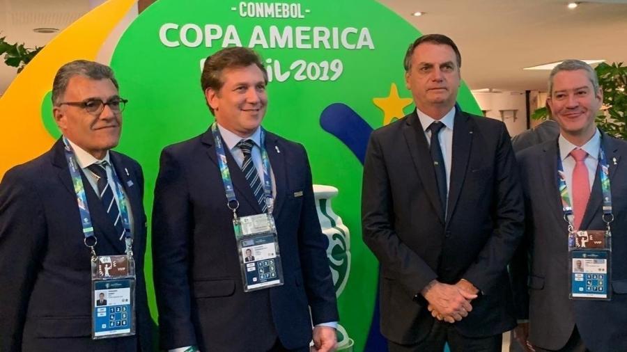 Bolsonaro foi ao Morumbi acompanhar a estreia do Brasil na Copa América. Foto: Reprodução/Twitter