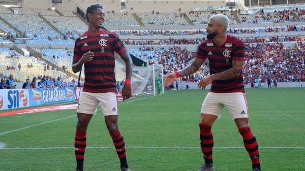 Bruno Henrique e Gabigol chegaram ao Flamengo no começo do ano. Foto: Alexandre Vidal / Flamengo