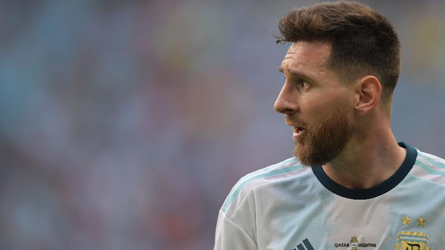 Messi durante o jogo entre Argentina x Qatar pela Copa América. Foto: Carl de Souza/AFP