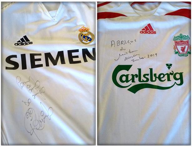 Camisas de Real Madrid e Arsenal podem ser rifadas para ajudar na arrecadação. Foto: Reprodução