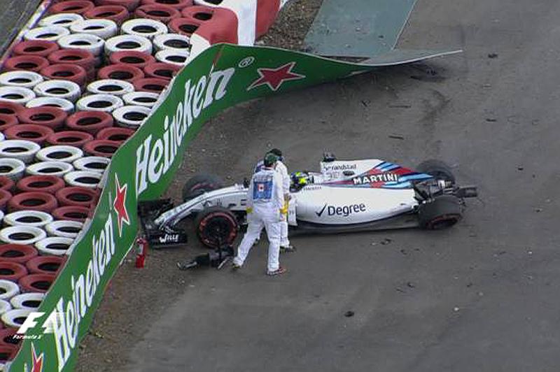 Piloto brasileiro sofreu com uma pane na asa móvel de sua Williams. Foto: Reprodução/YouTube