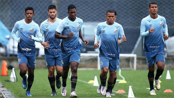 Jogadores do Peixe durante treino no CT Rei Pelé. Foto: Divulgação/Santos