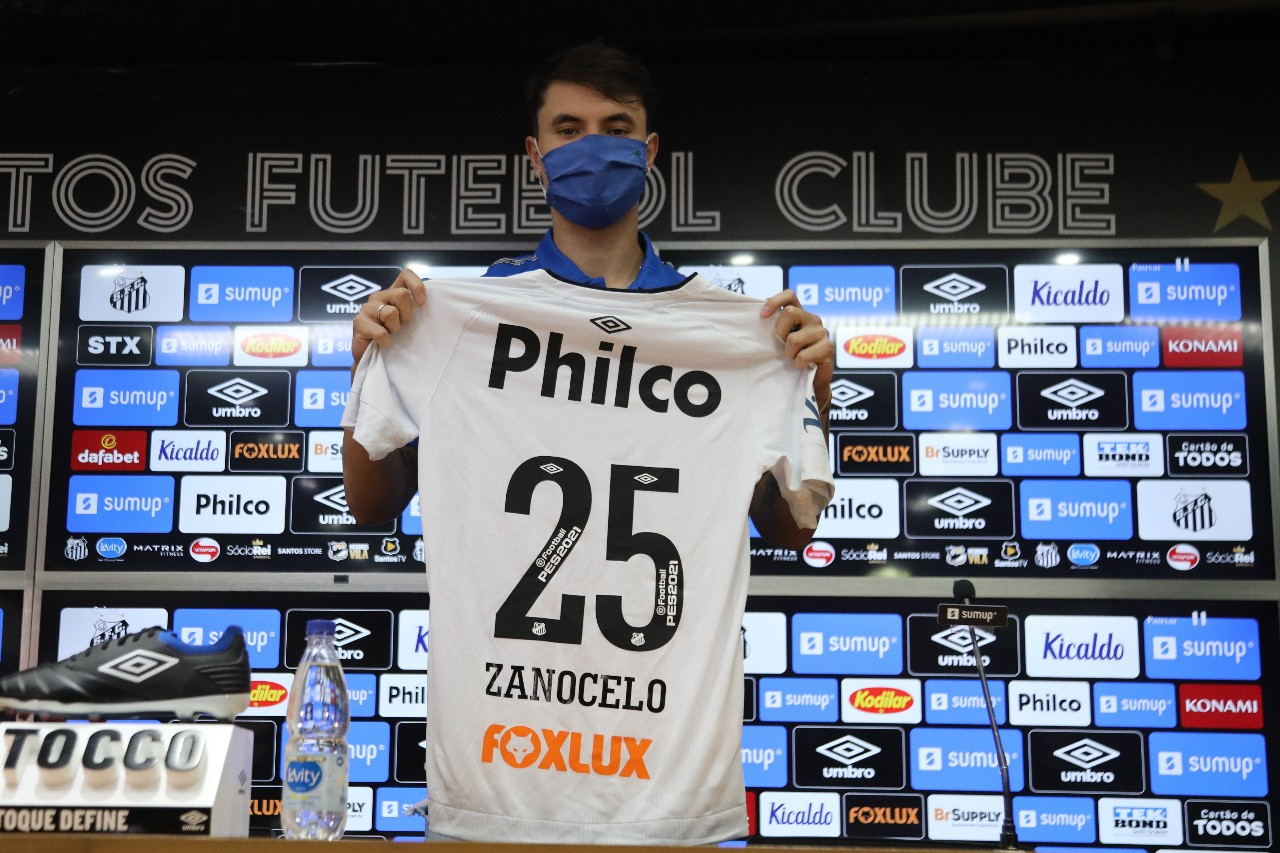 Vinicius Zanocelo foi uma das contratações que destacaram o sonho de atuar com o treinador santista. Foto: Ivan Storti/Santos FC