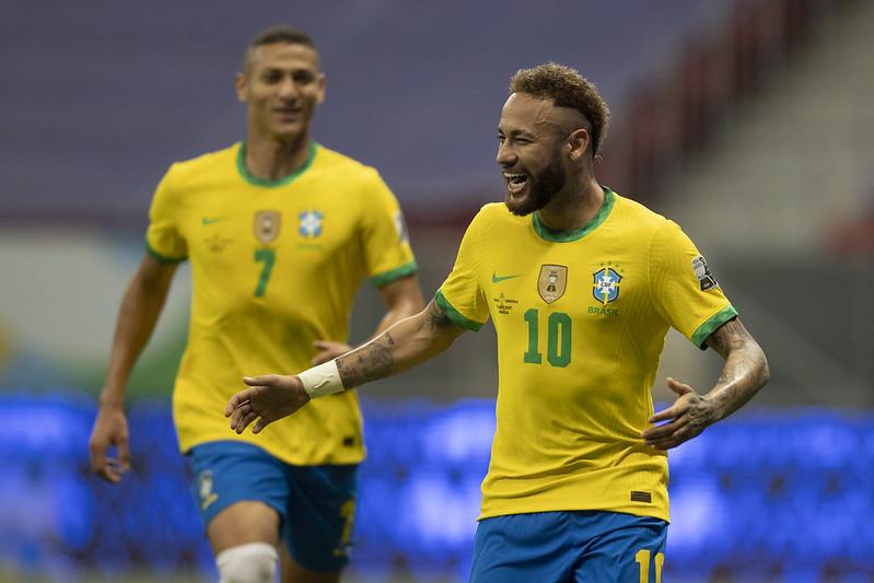 Neymar comemora seu gol diante da Venezuela. Foto: Lucas Figueiredo/CBF