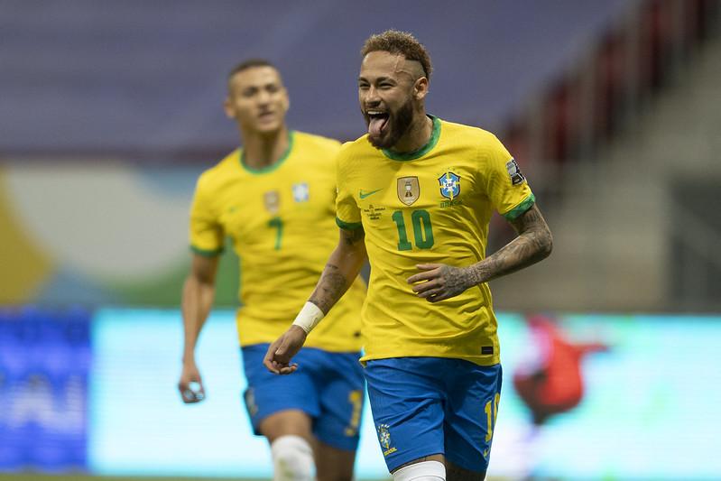 Neymar comemora seu gol contra a Venezuela. Foto: Lucas Figueiredo/CBF