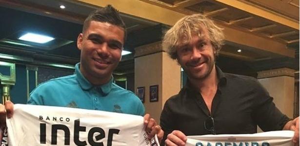 Casemiro ganhou uma camisa do São Paulo e retribuiu com uma do Real Madrid. Foto: Reprodução Instagram