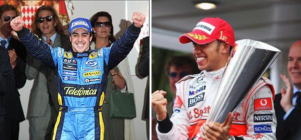 Espanhol e inglês criticaram a prova ganha por Ricciardo no Principado. Fotos: Divulgação